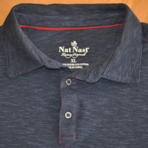 Nat Nast Blue Pullover Polo Shirt Size XL